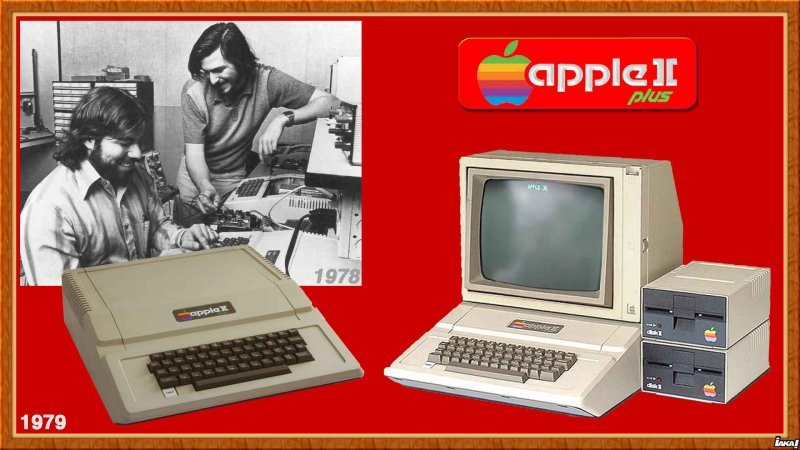 1979 Apple 2 plus (1978 photo Steve Wozniak et Steve Jobs)