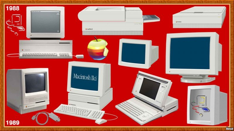 "1988 : Mac IIx - LaserWriter IISC/NT/NTX - Apple Scanner - 1989 SE/30 - IIcx/ci - Display 12/21/15"" - Portable"